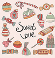 Valentines Day card with set of doodle candy vector image