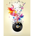 Abstract musical background with floral elements vector image