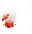 open gift with flying hearts confetti vector image vector image