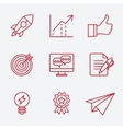 Flat line icons set of small business planning vector image