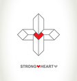 Heart protection system logo Strong heart company vector image