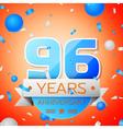 Ninety six years anniversary celebration on orange vector image