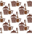 Vintage coffee mills with cups seamless pattern vector image