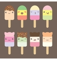 Set collection of cute kawaii style ice cream vector image