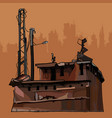 Dilapidated rusty old corroded metal construction vector image