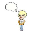 cartoon cool relaxed woman with thought bubble vector image