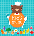 Design of kids menu with cute bear chef vector image