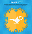 Alladin lamp genie icon Floral flat design on a vector image