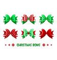 cartoon christmas green-red gift bows vector image