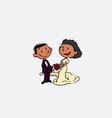 couple of black newlyweds posing happy isolated vector image