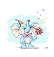 Cute and funny baby elephant with candy vector image