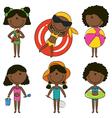 Cute happy African-American girls vector image