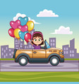 girl driving convertible car in the city vector image