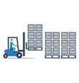 Warehouse storage services boxes on pallets vector image