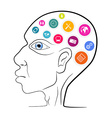 Thinking Man Head Outline with Technology Ic vector image vector image