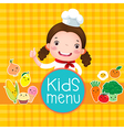 Design of kids menu with smiling girl chef vector image