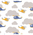 Cartoon helicopter in sky seamless pattern vector image