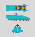 bobsleigh for two athletes winter sports concept vector image