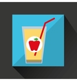 fresh juice apple and cup glass straw design vector image