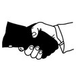 hand shaking with dark hand dangerous partner - vector image
