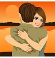 Young couple hugging on bank of river in evening vector image