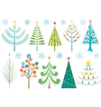 Christmas trees and snowflakes vector image vector image