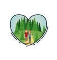 Couple cartoon inside heart design vector image