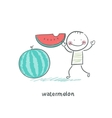Watermelon and people vector image vector image