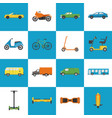 collection of transport icons in flat style vector image vector image