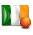 Irelands flag beside the basketball ball vector image vector image
