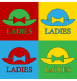 Pop art female hat icons vector image