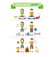 Concept of healthy lifestyle and wellbeing vector image