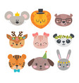 cute animals with funny accessories cartoon zoo vector image