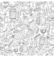 hand drawn beer and food seamless background vector image