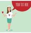nurse woman ask blood donation life medic heart vector image