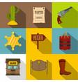 wild west icons set flat style vector image