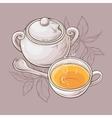 cup of tea and sugar bowl vector image