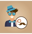 hipster character monocle and mustache vintage vector image