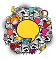 Abstract background with cute kawaii doodles vector image vector image