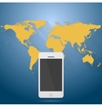 Abstract flat world map with mobile phone vector image vector image
