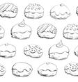 Hanukkah donuts seamless pattern vector image