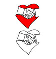 business handshake in heart signp vector image