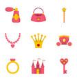 doll princess icon set flat style vector image
