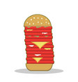 Isolated cartoon burger tower red meat vector image