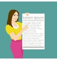 The girl holding a white empty sheet of paper vector image