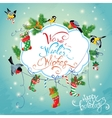 Xmas and New Year Holiday Card with Birds holding vector image