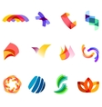 12 colorful symbols set 20 vector image
