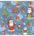 Blue holiday seamless pattern vector image