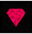 Big pink polygonal diamond on the black background vector image