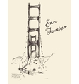 San Francisco Bridge Vintage Engraved vector image